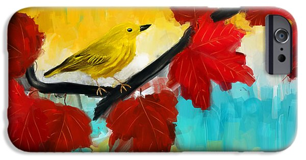 Warbler iPhone Cases - Vividness iPhone Case by Lourry Legarde