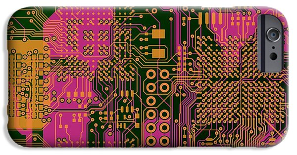 Circuit iPhone Cases - Vo96 Circuit 6 iPhone Case by Paul Vo