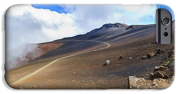 Moonscape iPhone Cases - Volcanic Pathway to the Clouds iPhone Case by Paul Moore