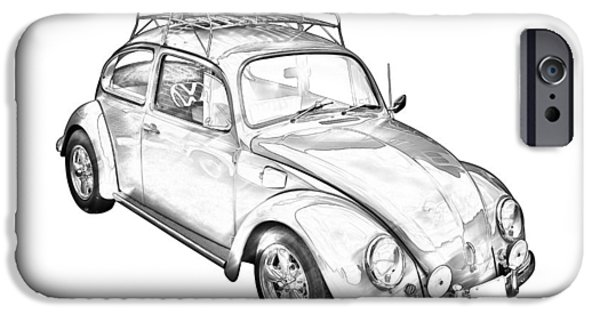 Affordable iPhone Cases - Volkswagen beetle Punch Buggy Illustration iPhone Case by Keith Webber Jr