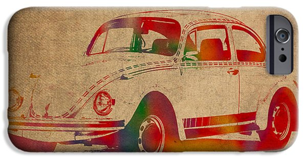 Volkswagen iPhone Cases - Volkswagen Beetle Vintage Watercolor Portrait on Worn Distressed Canvas iPhone Case by Design Turnpike