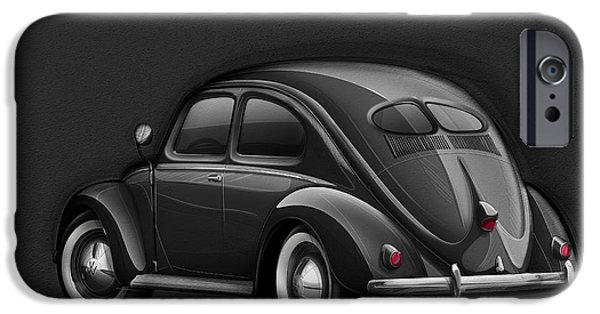 Marker iPhone Cases - Volkswagen Beetle VW 1948 Black iPhone Case by Etienne Carignan