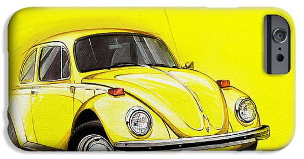 Marker iPhone Cases - Volkswagen Beetle VW Yellow iPhone Case by Etienne Carignan