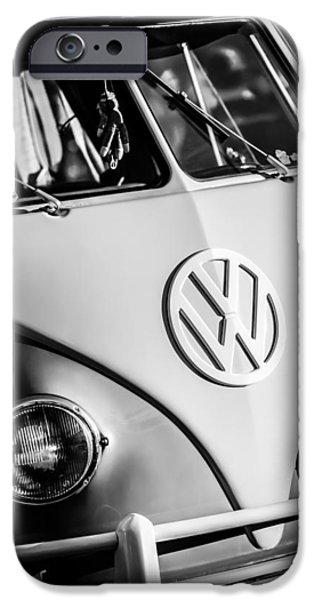 Volkswagen iPhone Cases - Volkswagen VW Bus Emblem -1355bw iPhone Case by Jill Reger
