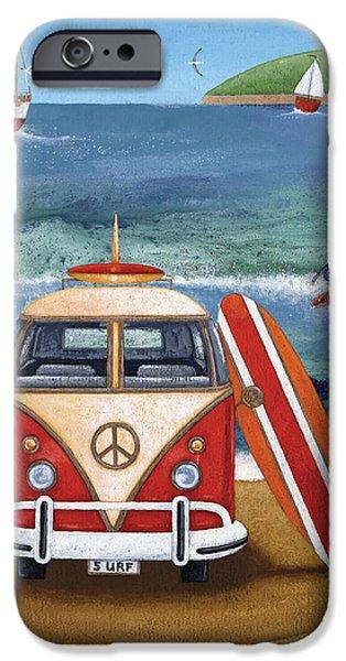 Summer iPhone Cases - Volkwagen Surfboard iPhone Case by Peter Adderley