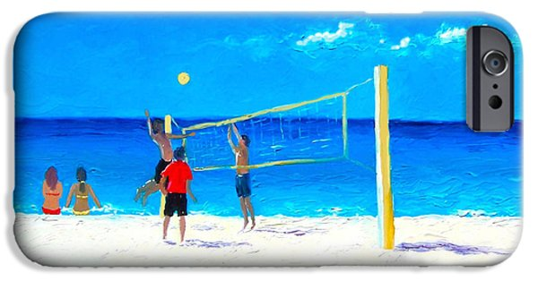 Volley iPhone Cases - Volleyball beach painting iPhone Case by Jan Matson