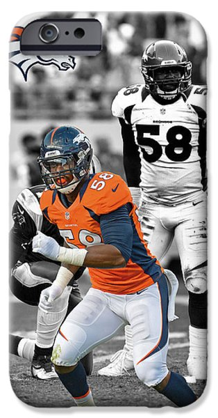 VON MILLER BRONCOS iPhone Case by Joe Hamilton