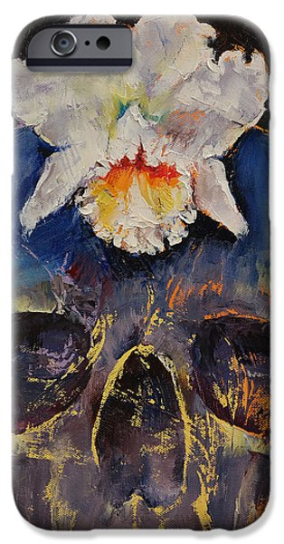 White Orchid iPhone Cases - Voodoo Skull iPhone Case by Michael Creese