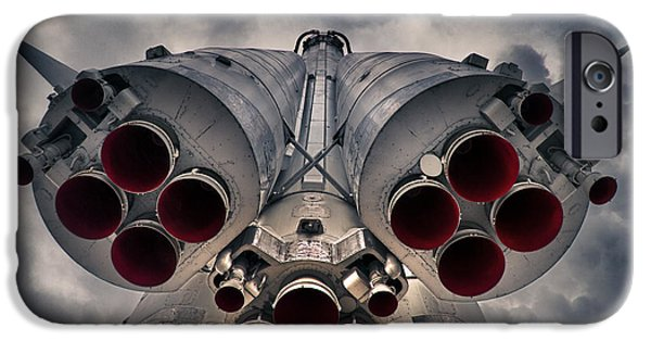 Flight iPhone Cases - Vostok rocket engine iPhone Case by Stylianos Kleanthous