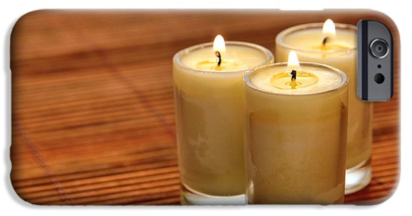 Trio iPhone Cases - Votive Candle Burning iPhone Case by Olivier Le Queinec