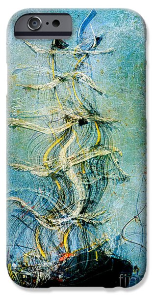 Abstract Realism iPhone Cases - Voyage dEau 04at2b- Sea Boat Collection iPhone Case by Variance Collections
