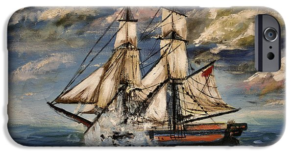 Sailboat Ocean iPhone Cases - Voyage of the Cloud Chaser iPhone Case by Isabella F Abbie Shores LstAngel Arts