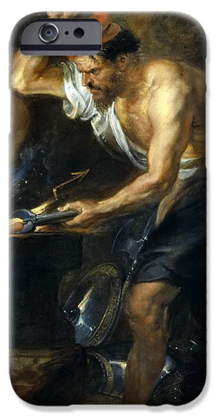 Thunder Paintings iPhone Cases - Vulcan forges Jupiters thunder iPhone Case by Peter Paul Rubens