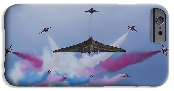 Aviation Pyrography iPhone Cases - Vulcan XH558 and The Red Arrows iPhone Case by John Richardson