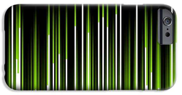 Electrical iPhone Cases - Frequency Green Digital Abstract Image iPhone Case by Karl Jones