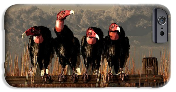 Vulture iPhone Cases - Vultures on a Fence iPhone Case by Daniel Eskridge