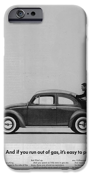Volks iPhone Cases - VW Beetle Advert 1962 - And if you run out of gas its easy to push iPhone Case by Nomad Art And  Design