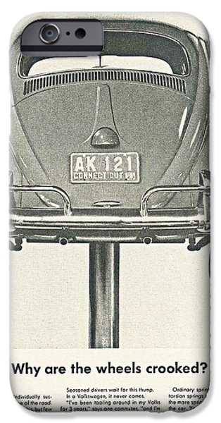 Volks iPhone Cases - VW Beetle Advert 1962 - Why are the wheels crooked? iPhone Case by Nomad Art And  Design