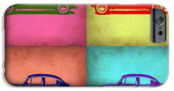 Concept Digital Art iPhone Cases - VW Beetle Pop Art 1 iPhone Case by Naxart Studio