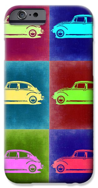 Old Digital iPhone Cases - VW Beetle Pop Art 2 iPhone Case by Naxart Studio