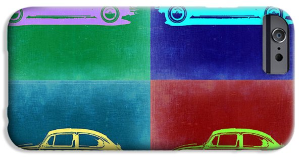 Concept Digital Art iPhone Cases - VW Beetle Pop Art 3 iPhone Case by Naxart Studio