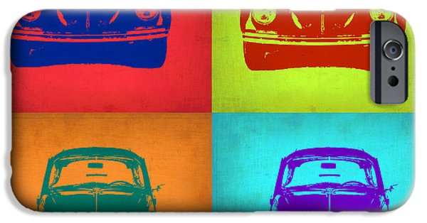 Concept Digital Art iPhone Cases - VW Beetle Pop Art 5 iPhone Case by Naxart Studio