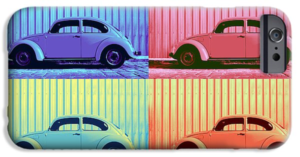 Metallic Sheets iPhone Cases - VW Beetle Pop Art Quad iPhone Case by Laura  Fasulo