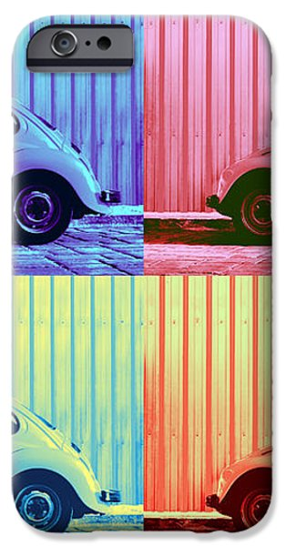 VW Beetle Pop Art Quad iPhone Case by Laura  Fasulo