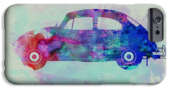 Automotive Drawings iPhone Cases - VW Beetle Watercolor 1 iPhone Case by Naxart Studio