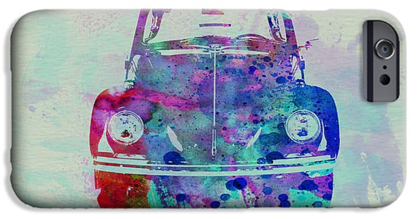 Automotive Drawings iPhone Cases - VW Beetle Watercolor 2 iPhone Case by Naxart Studio