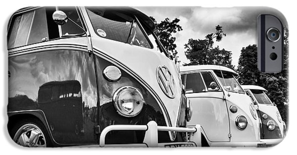 60s Photographs iPhone Cases - VW Splitties Monochrome iPhone Case by Tim Gainey