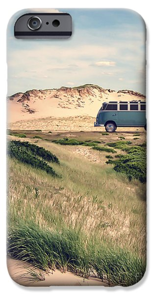 60s Photographs iPhone Cases - VW Surfer Bus out in the sand dunes iPhone Case by Edward Fielding
