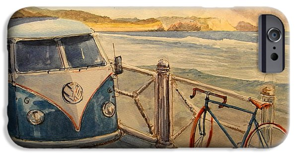 Volkswagen iPhone Cases - VW Westfalia surfer iPhone Case by Juan  Bosco