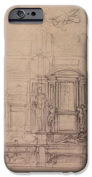 Classical iPhone Cases - W.26r Design For The Medici Chapel In The Church Of San Lorenzo, Florence Charcoal iPhone Case by Michelangelo Buonarroti