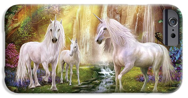 Extinct And Mythical Photographs iPhone Cases - Waaterfall Glade Unicorns iPhone Case by Jan Patrik Krasny