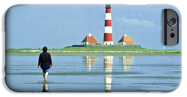 North Sea iPhone Cases - Wadden Sea with Westerhever Lighthouse iPhone Case by Heiko Koehrer-Wagner
