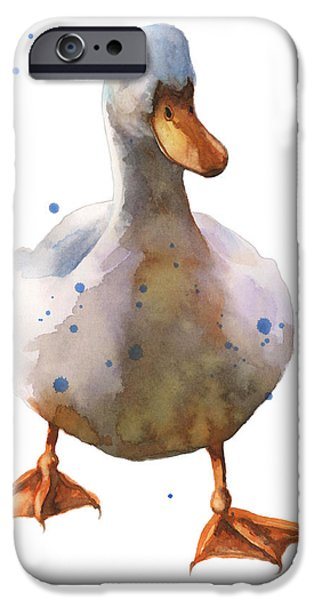 Fowl iPhone Cases - Waddling White Duck iPhone Case by Alison Fennell