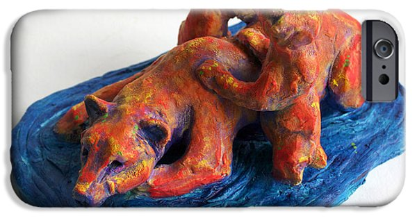 Animal Sculptures iPhone Cases - Wading Bears iPhone Case by Derrick Higgins