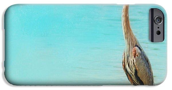 Sea Birds iPhone Cases - Wading - Blue Heron - Wildlife iPhone Case by Jai Johnson