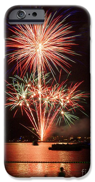 Fourth Of July iPhone Cases - Wading View of Fireworks iPhone Case by Mark Miller