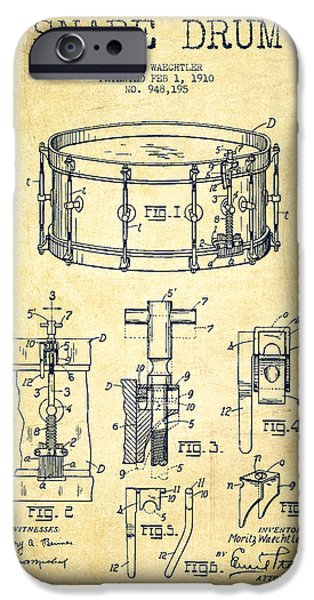 Drummer iPhone Cases - Waechtler Snare Drum Patent Drawing from 1910 - Vintage iPhone Case by Aged Pixel