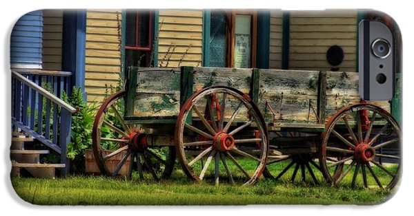 Rucker iPhone Cases - Wagon In The Old West iPhone Case by Dan Sproul