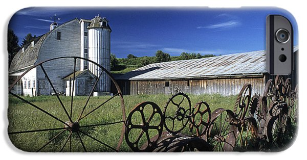 Contour Plowing iPhone Cases - Wagon Wheel Barn iPhone Case by Doug Davidson