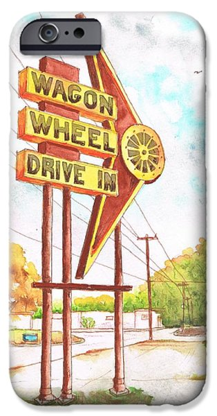 Dog In Landscape iPhone Cases - Wagon Wheel Drive In in Big Spring - Texas iPhone Case by Carlos G Groppa