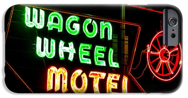Sign iPhone Cases - Wagon Wheel Motel Night iPhone Case by Angus Hooper Iii
