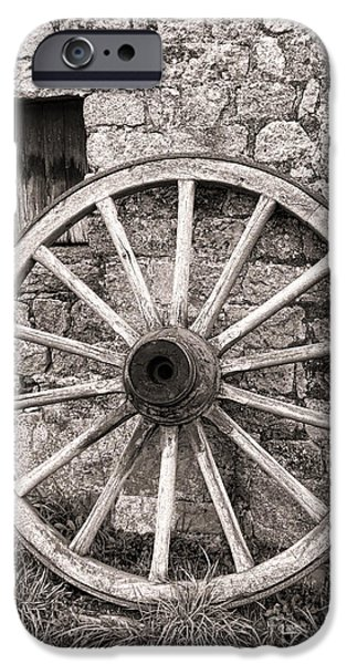 Wagon Photographs iPhone Cases - Wagon Wheel iPhone Case by Olivier Le Queinec