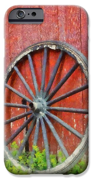 Wooden Wagons iPhone Cases - Wagon Wheel On Red Barn iPhone Case by Dan Sproul