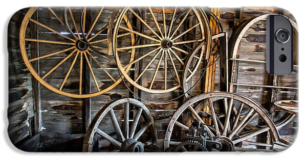 Wagon Photographs iPhone Cases - Wagon Wheels iPhone Case by Edward Fielding