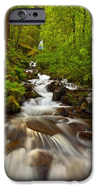 Lush iPhone Cases - Wahkeena Falls iPhone Case by Darren  White
