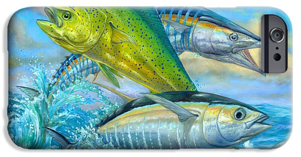 Marine iPhone Cases - Wahoo Mahi Mahi And Tuna iPhone Case by Terry  Fox